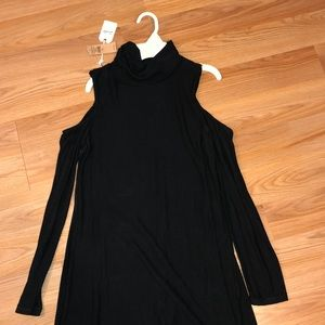 Plain black turtleneck dress
